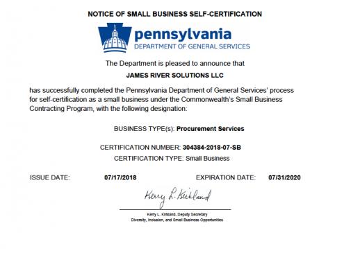JRS SWaM Certification Pennsylvania